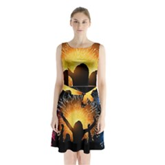 Celebration Night Sky With Fireworks In Various Colors Sleeveless Chiffon Waist Tie Dress