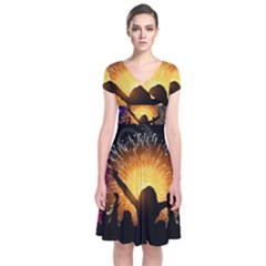 Celebration Night Sky With Fireworks In Various Colors Short Sleeve Front Wrap Dress
