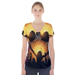 Celebration Night Sky With Fireworks In Various Colors Short Sleeve Front Detail Top
