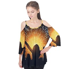 Celebration Night Sky With Fireworks In Various Colors Flutter Tees