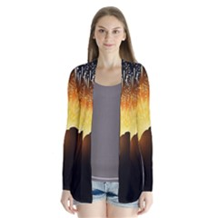 Celebration Night Sky With Fireworks In Various Colors Cardigans