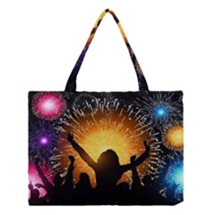 Celebration Night Sky With Fireworks In Various Colors Medium Tote Bag