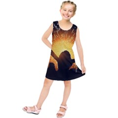 Celebration Night Sky With Fireworks In Various Colors Kids  Tunic Dress