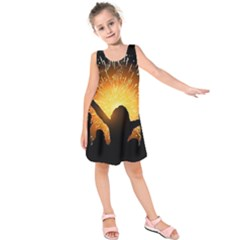Celebration Night Sky With Fireworks In Various Colors Kids  Sleeveless Dress