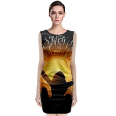 Celebration Night Sky With Fireworks In Various Colors Sleeveless Velvet Midi Dress