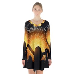 Celebration Night Sky With Fireworks In Various Colors Long Sleeve Velvet V Neck Dress