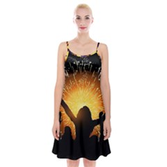 Celebration Night Sky With Fireworks In Various Colors Spaghetti Strap Velvet Dress