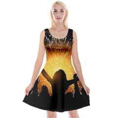 Celebration Night Sky With Fireworks In Various Colors Reversible Velvet Sleeveless Dress