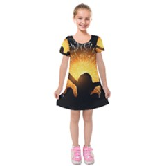 Celebration Night Sky With Fireworks In Various Colors Kids  Short Sleeve Velvet Dress