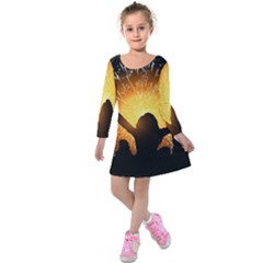 Celebration Night Sky With Fireworks In Various Colors Kids  Long Sleeve Velvet Dress