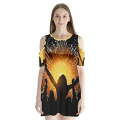 Celebration Night Sky With Fireworks In Various Colors Shoulder Cutout Velvet  One Piece