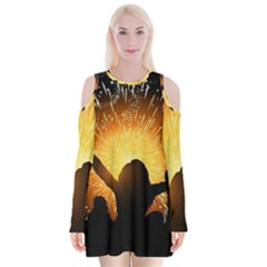 Celebration Night Sky With Fireworks In Various Colors Velvet Long Sleeve Shoulder Cutout Dress