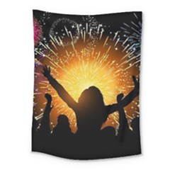 Celebration Night Sky With Fireworks In Various Colors Medium Tapestry