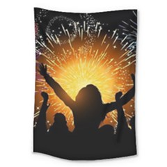 Celebration Night Sky With Fireworks In Various Colors Large Tapestry