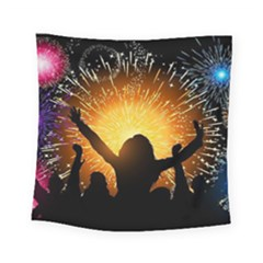 Celebration Night Sky With Fireworks In Various Colors Square Tapestry (small)