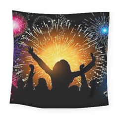 Celebration Night Sky With Fireworks In Various Colors Square Tapestry (large)
