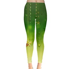 Christmas Green Background Stars Snowflakes Decorative Ornaments Pictures Leggings
