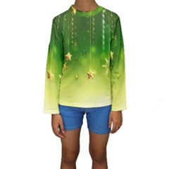 Christmas Green Background Stars Snowflakes Decorative Ornaments Pictures Kids  Long Sleeve Swimwear