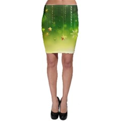 Christmas Green Background Stars Snowflakes Decorative Ornaments Pictures Bodycon Skirt
