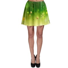 Christmas Green Background Stars Snowflakes Decorative Ornaments Pictures Skater Skirt