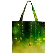 Christmas Green Background Stars Snowflakes Decorative Ornaments Pictures Zipper Grocery Tote Bag
