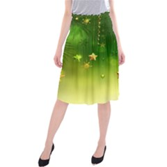 Christmas Green Background Stars Snowflakes Decorative Ornaments Pictures Midi Beach Skirt