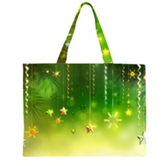 Christmas Green Background Stars Snowflakes Decorative Ornaments Pictures Large Tote Bag