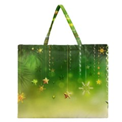 Christmas Green Background Stars Snowflakes Decorative Ornaments Pictures Zipper Large Tote Bag