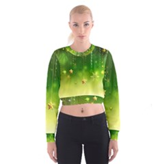 Christmas Green Background Stars Snowflakes Decorative Ornaments Pictures Women s Cropped Sweatshirt