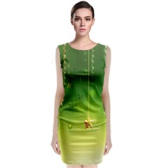 Christmas Green Background Stars Snowflakes Decorative Ornaments Pictures Classic Sleeveless Midi Dress
