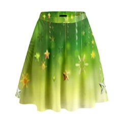 Christmas Green Background Stars Snowflakes Decorative Ornaments Pictures High Waist Skirt