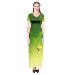 Christmas Green Background Stars Snowflakes Decorative Ornaments Pictures Short Sleeve Maxi Dress