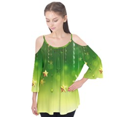 Christmas Green Background Stars Snowflakes Decorative Ornaments Pictures Flutter Tees