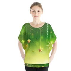 Christmas Green Background Stars Snowflakes Decorative Ornaments Pictures Blouse