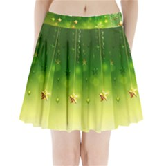 Christmas Green Background Stars Snowflakes Decorative Ornaments Pictures Pleated Mini Skirt