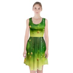 Christmas Green Background Stars Snowflakes Decorative Ornaments Pictures Racerback Midi Dress
