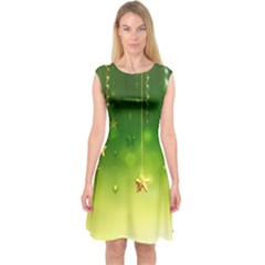 Christmas Green Background Stars Snowflakes Decorative Ornaments Pictures Capsleeve Midi Dress