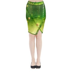 Christmas Green Background Stars Snowflakes Decorative Ornaments Pictures Midi Wrap Pencil Skirt