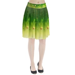 Christmas Green Background Stars Snowflakes Decorative Ornaments Pictures Pleated Skirt