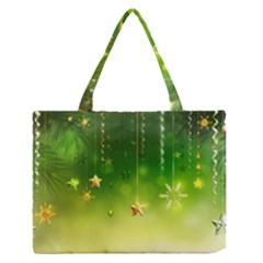 Christmas Green Background Stars Snowflakes Decorative Ornaments Pictures Medium Zipper Tote Bag