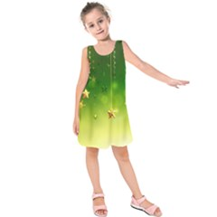 Christmas Green Background Stars Snowflakes Decorative Ornaments Pictures Kids  Sleeveless Dress