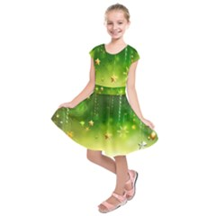 Christmas Green Background Stars Snowflakes Decorative Ornaments Pictures Kids  Short Sleeve Dress