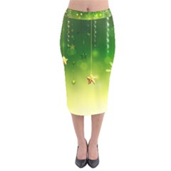 Christmas Green Background Stars Snowflakes Decorative Ornaments Pictures Velvet Midi Pencil Skirt