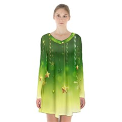 Christmas Green Background Stars Snowflakes Decorative Ornaments Pictures Long Sleeve Velvet V Neck Dress