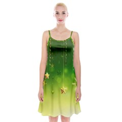 Christmas Green Background Stars Snowflakes Decorative Ornaments Pictures Spaghetti Strap Velvet Dress
