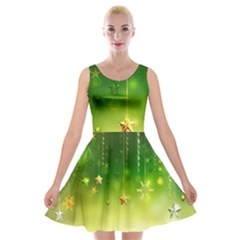 Christmas Green Background Stars Snowflakes Decorative Ornaments Pictures Velvet Skater Dress