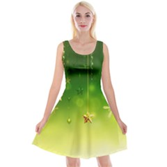 Christmas Green Background Stars Snowflakes Decorative Ornaments Pictures Reversible Velvet Sleeveless Dress