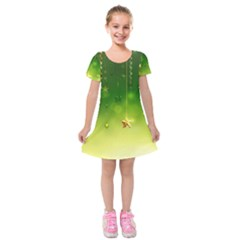 Christmas Green Background Stars Snowflakes Decorative Ornaments Pictures Kids  Short Sleeve Velvet Dress