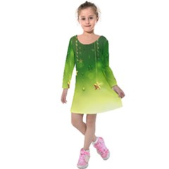 Christmas Green Background Stars Snowflakes Decorative Ornaments Pictures Kids  Long Sleeve Velvet Dress