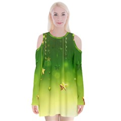 Christmas Green Background Stars Snowflakes Decorative Ornaments Pictures Velvet Long Sleeve Shoulder Cutout Dress